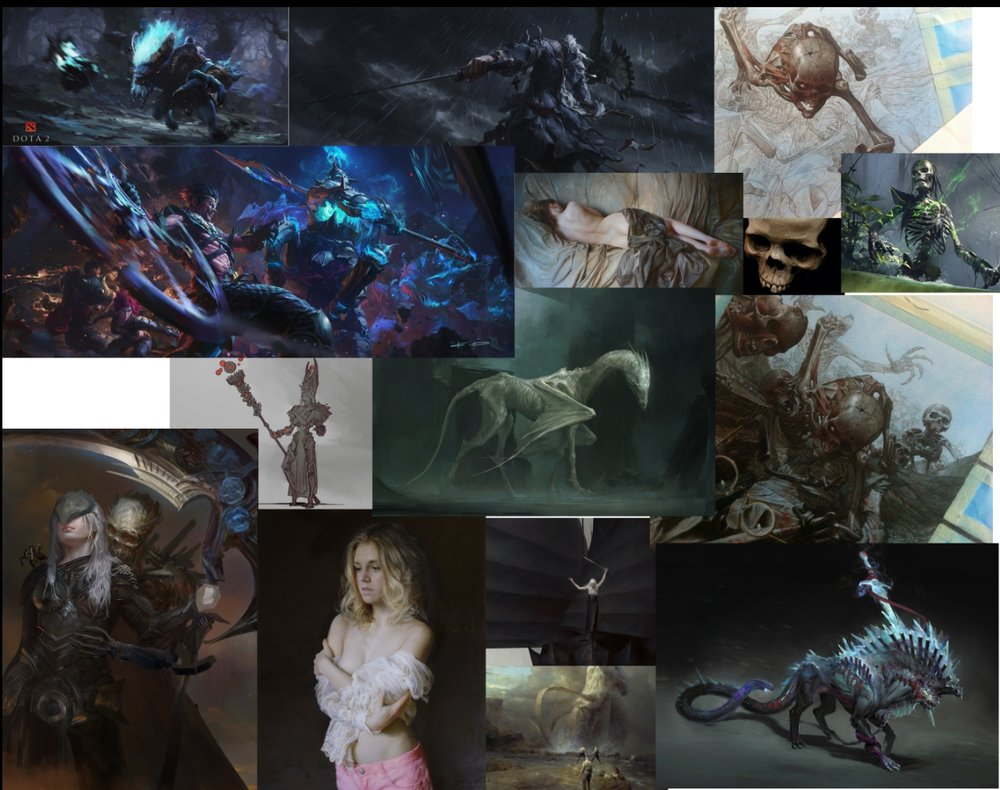 The Mood board I used for these pieces, The artworks are from:  Stanton Fen  g ,  Serge Marshennikov ,  Riccardo Fedderici ,  Carlyn Lim ,  xiaodi jin  and  Chase Stone