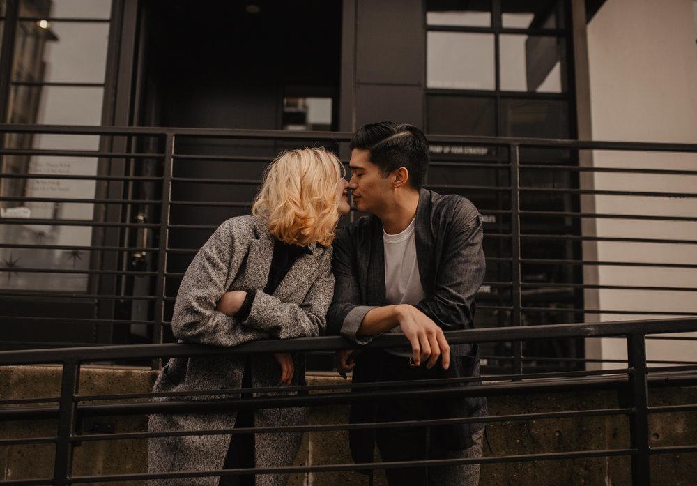 fashionable couple photos in downtown Portland Oregon