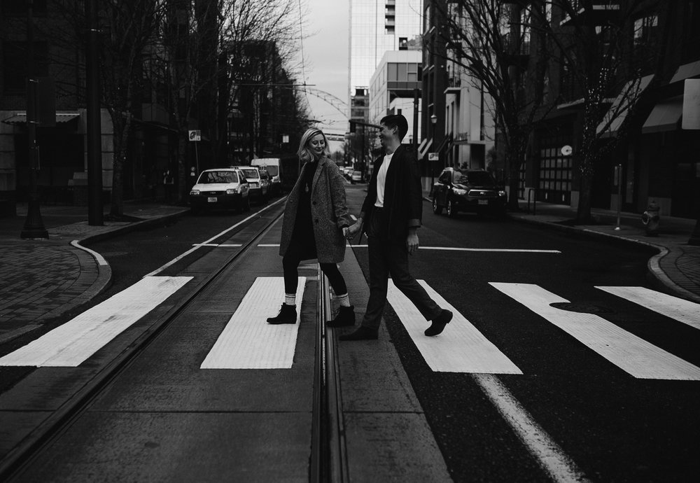 Couple urban photos in the Pearl District of Portland Oregon