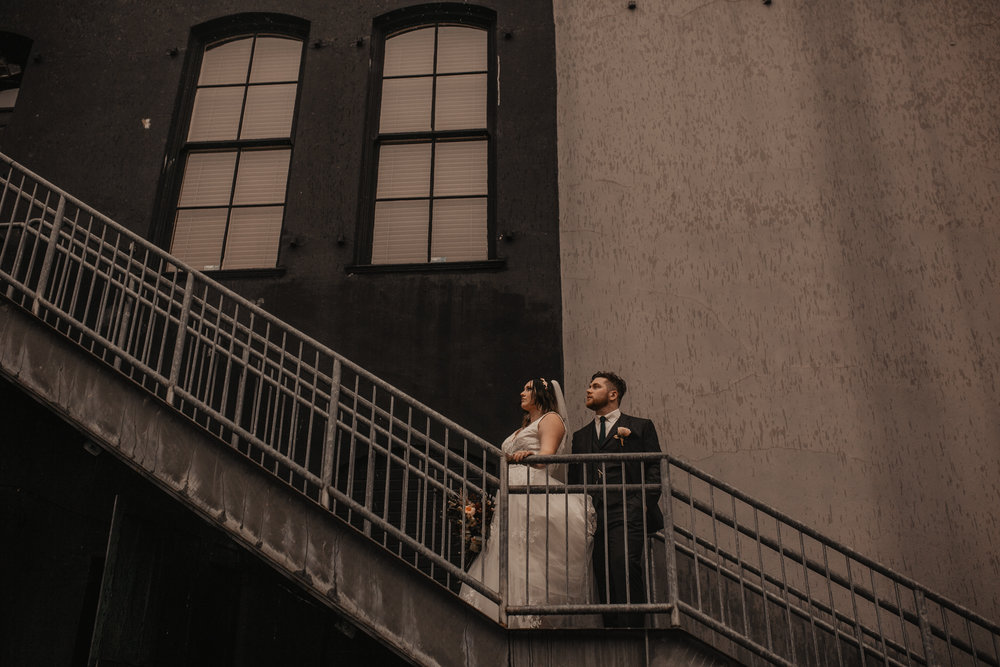 downtown Portland urban wedding portraits