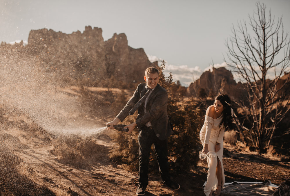 Smith Rock Elopement champagne cheers
