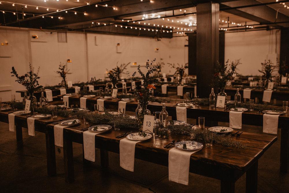Reception hall at Union Pine wedding
