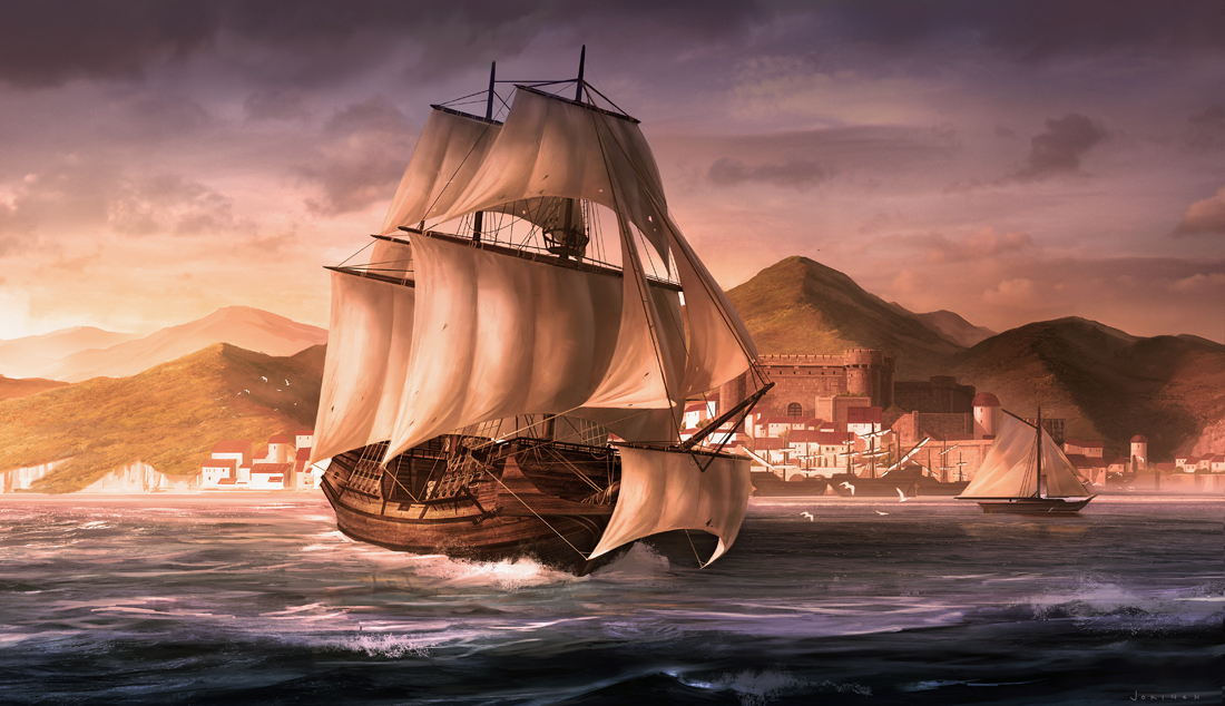Here's an older commission. The project was to paint a merchant ship leaving the port of Lisbon in the 16th century. Hope you guys like the image! More stuff to come soon!