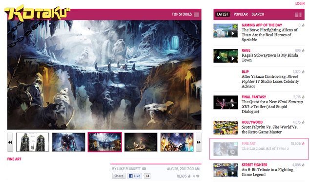 The guys at Kotaku were cool enough to feature some of my work stuff for Trine 2 today. There you'll find some stuff you might already be familiar with but a bunch of new stuff as well.     Normally here on      Fine Art     , we showcase the fruits of video game artists working on titles that are already out. That's not the case today.     Instead, we're getting a look at the art of anupcoming title, and a beautiful one to boot: that of Trine 2, sequel to the wonderful 2009 co-op platformer Trine. These images, some of the rough sketches and some of them large, detailed environment pieces, were done by Frozenbyte's concept artist Juhani Jokinen.     Read more      here