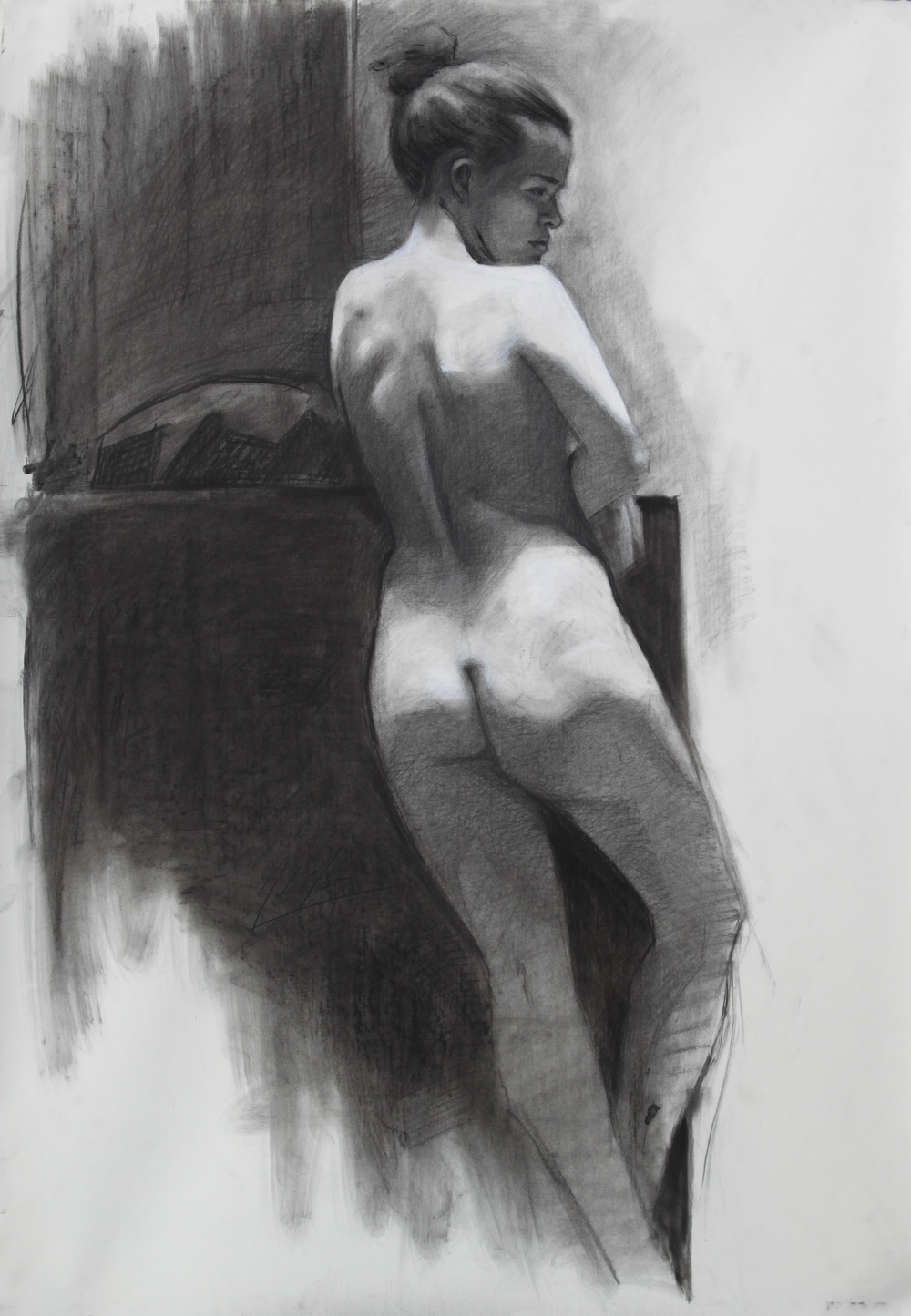 Julia, 2013, charcoal on paper, 42 x 29 inches