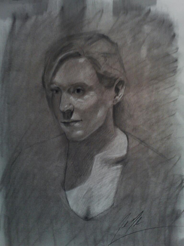 Erica, 2013, charcoal on paper, 24 x 18 inches