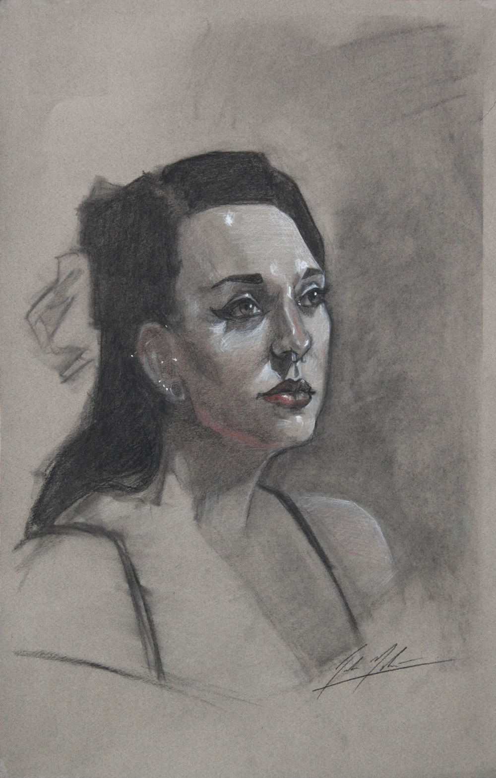 Megan, 2013, three color chalk on paper, 18 x 12 inches