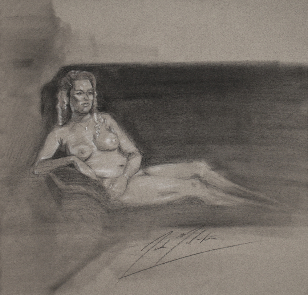 Untitled Figure, 2014, charcoal on paper, 11.5 x 12 inches