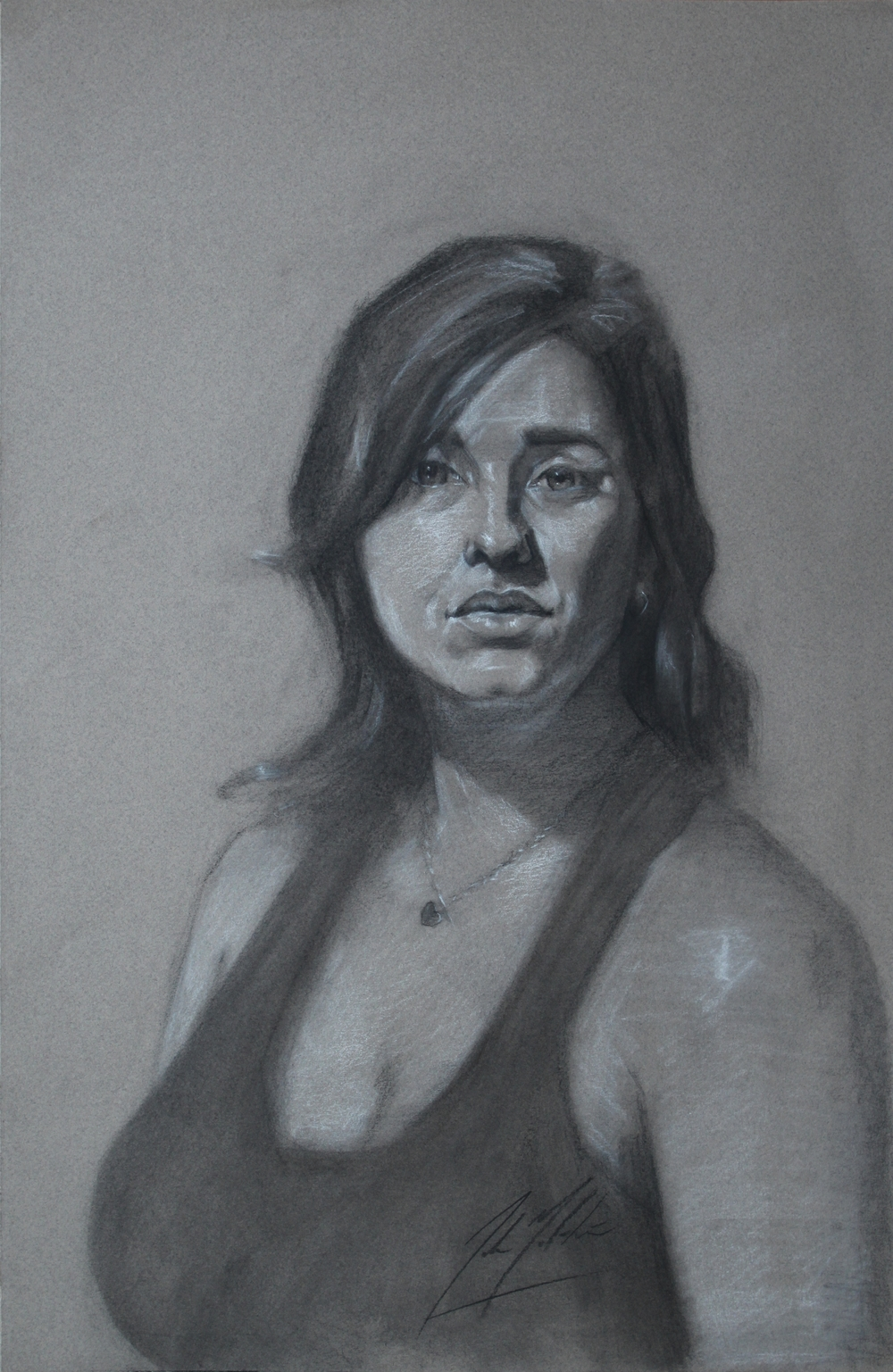 Erica, 2014, charcoal on paper, 18 x 12 inches