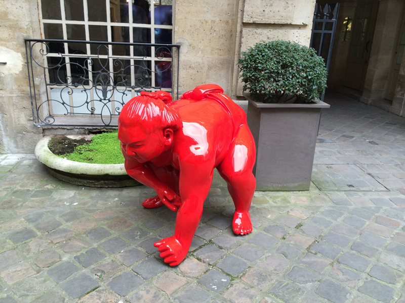A temporary art installation in the courtyard of Le Pavillon de la Reine