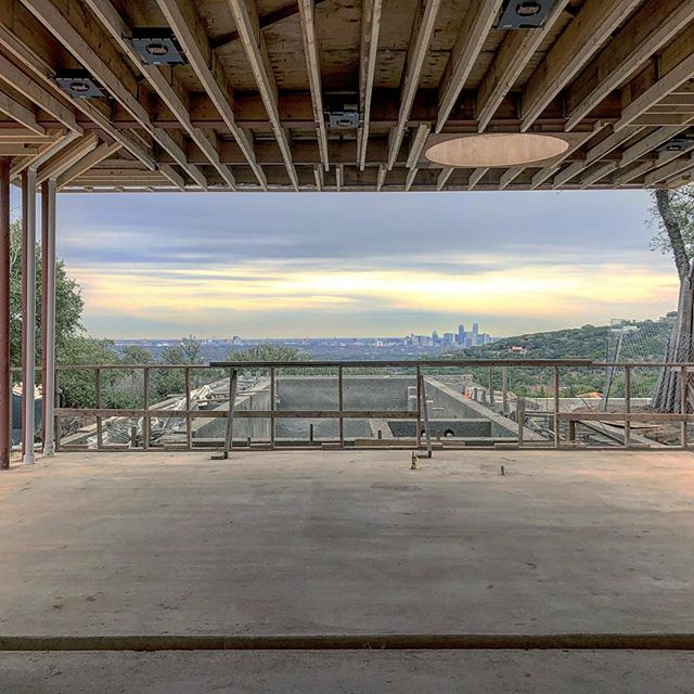 #austinskyline from our #modernpool under construction with @crowellbuilders @modernconstructors @stonefoxarch