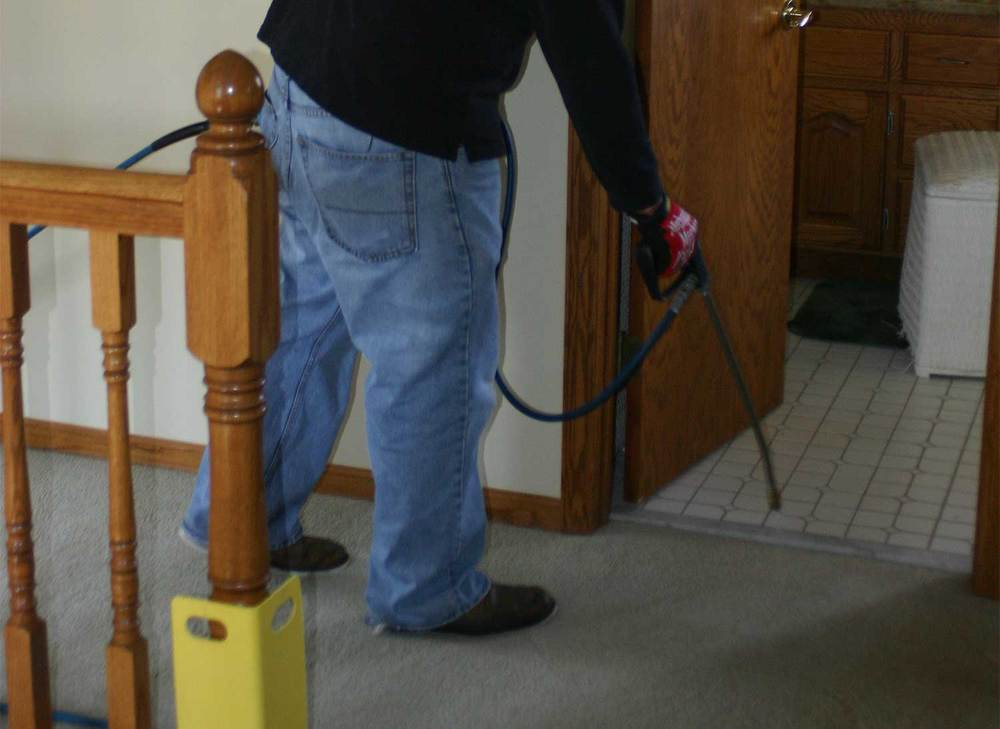 First we vacum then, after inspection and identification of problem areas, a high quality low residue green cleaner is applied to the carpet . Then the carpet is gently agitated to dissolve dirt.