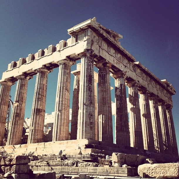 Blue skies over the Parthenon on top of the Acropolis