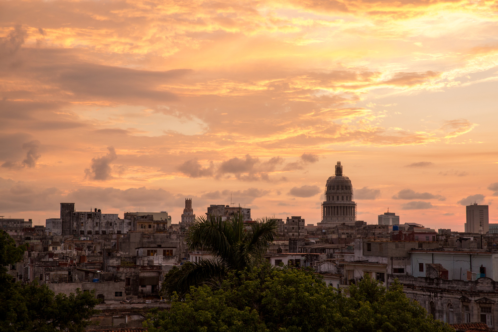 El Capitolio and Havana skyline at Sunset. Havana, Cuba, August 2015.