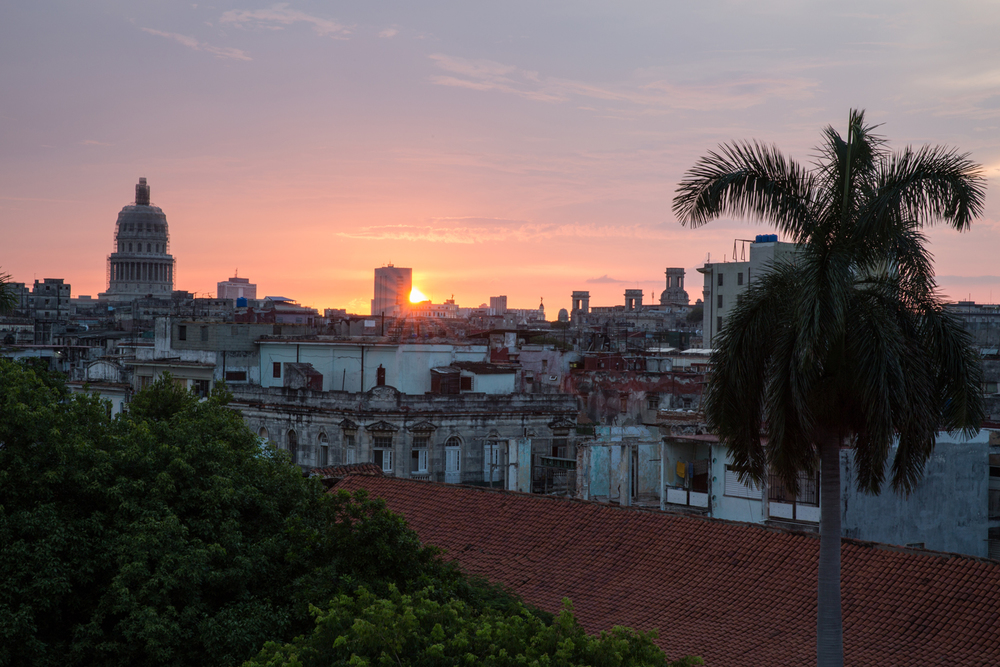 "Sunset from the rooftop of our ""casa particular"" Havana, Cuba, August 2015."