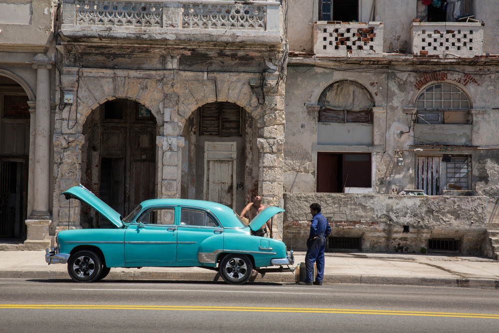 Broken down American car. Havana, Cuba, August 2015.