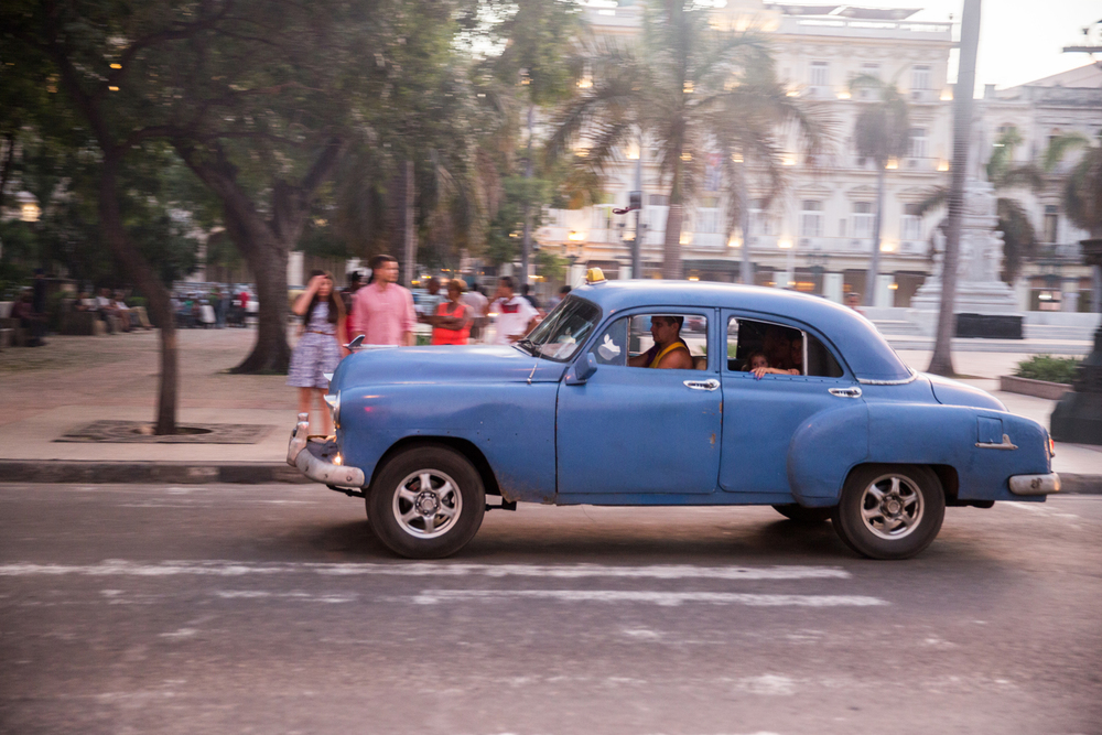 A vintage American car in Parque Central, Havana, Cuba, August 2015.