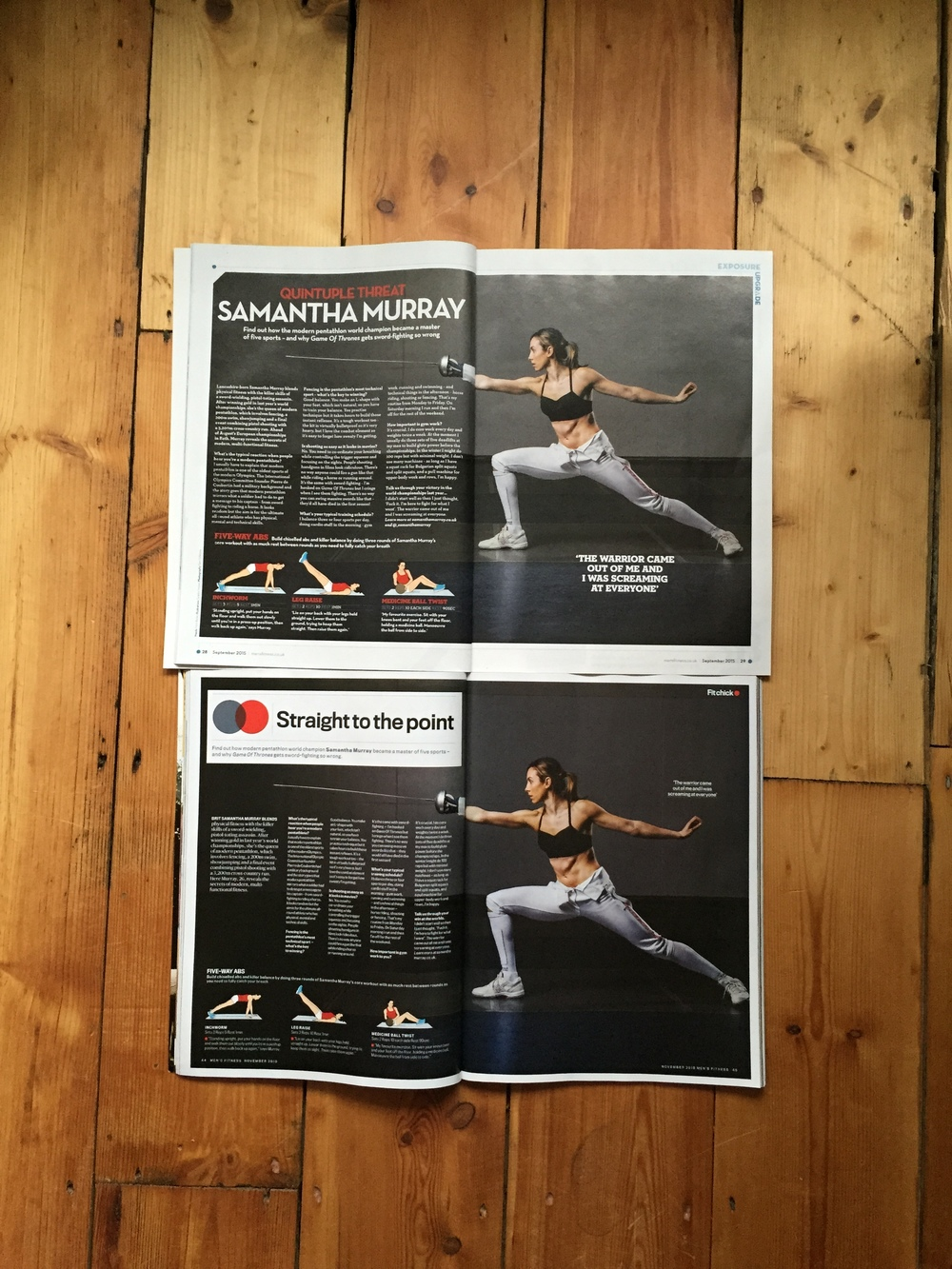 Samantha Murray (Olympic Silver Medallist Modern Pentathlon) for Men's Fitness UK & Australia, Sept/Oct 2015