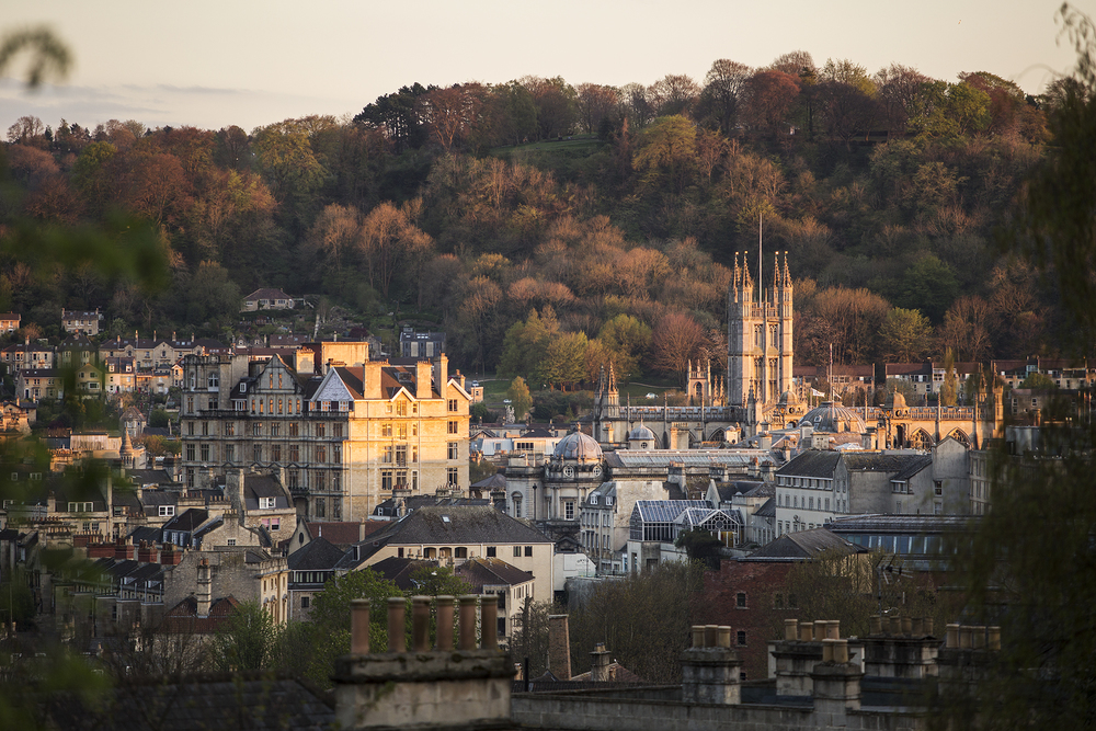 Bath Abbey and Alexandra Park Sunset, Bath, UK