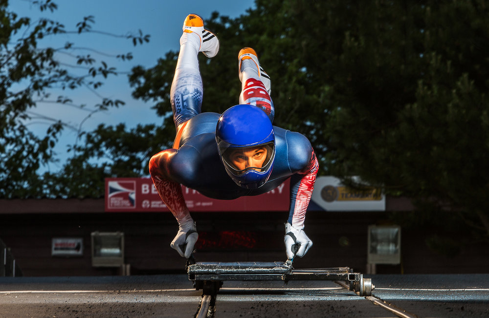 Dom Parson, Olympic Skeleton Bronze Medalist (Pyeongchang 2018), launches himself into the air at the University of Bath's training push track in June 2016.