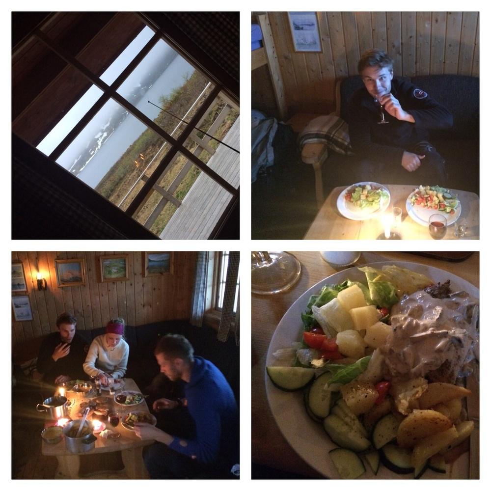 Gourme-mat på fjellet. Det ble et skikkelig herremåltid;=)