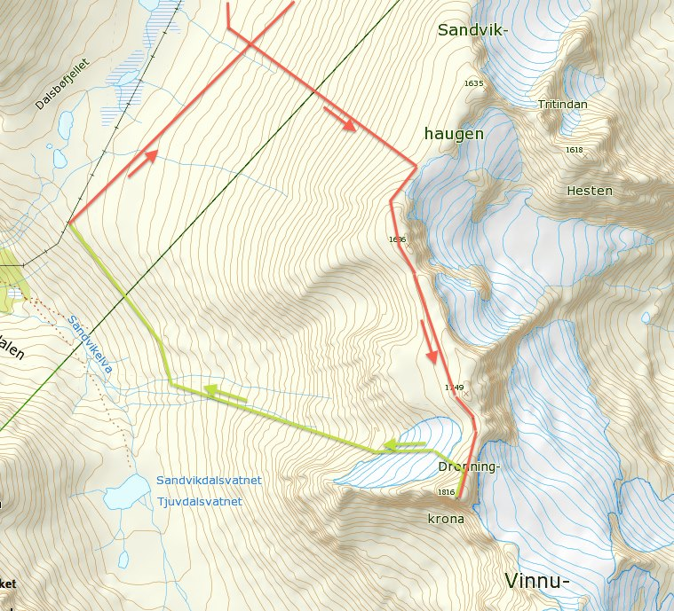 Dronningkrona, 1816 moh