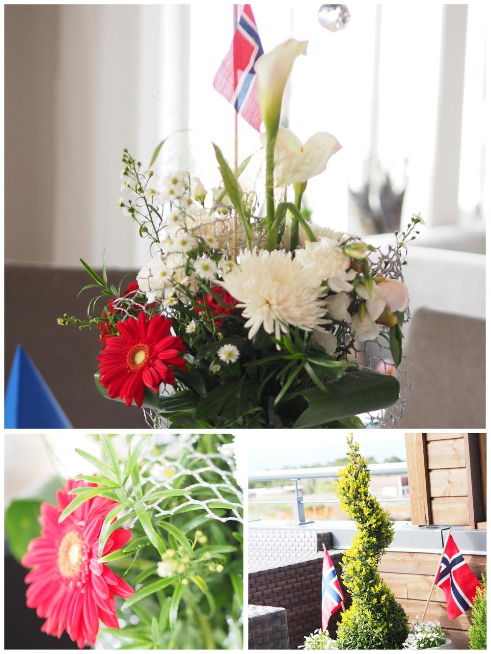 Blomsteroppsatsene for anledningen. Er det bare meg eller er flagget vårt utrolig fint sammen med buketter og grønt?
