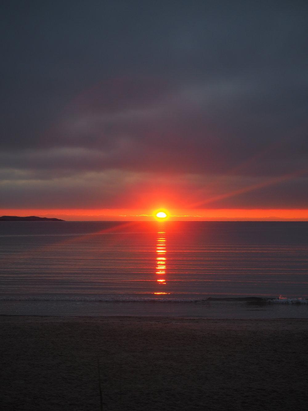 """Solnedgang på solastranden, Stavanger. Innstillingen på kameraet var i """"sunsetmodus"""" på Olympus Pen PL 7"""