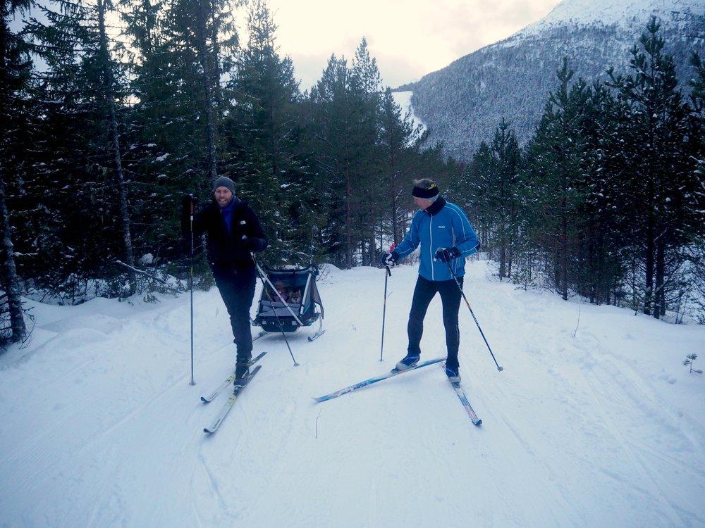 Prestmyra, langrenn, Frei. Thule Sport 2 sportsvogn som pulk med skikit