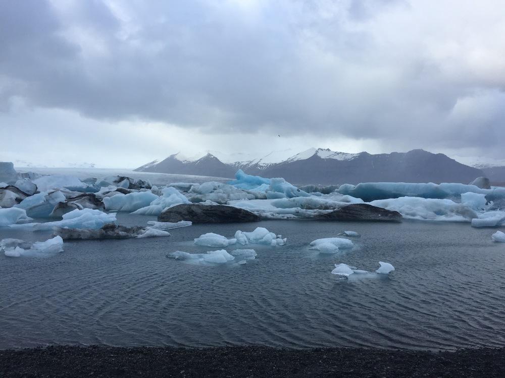 Blue galciers in Glacier Lagoon near Höf