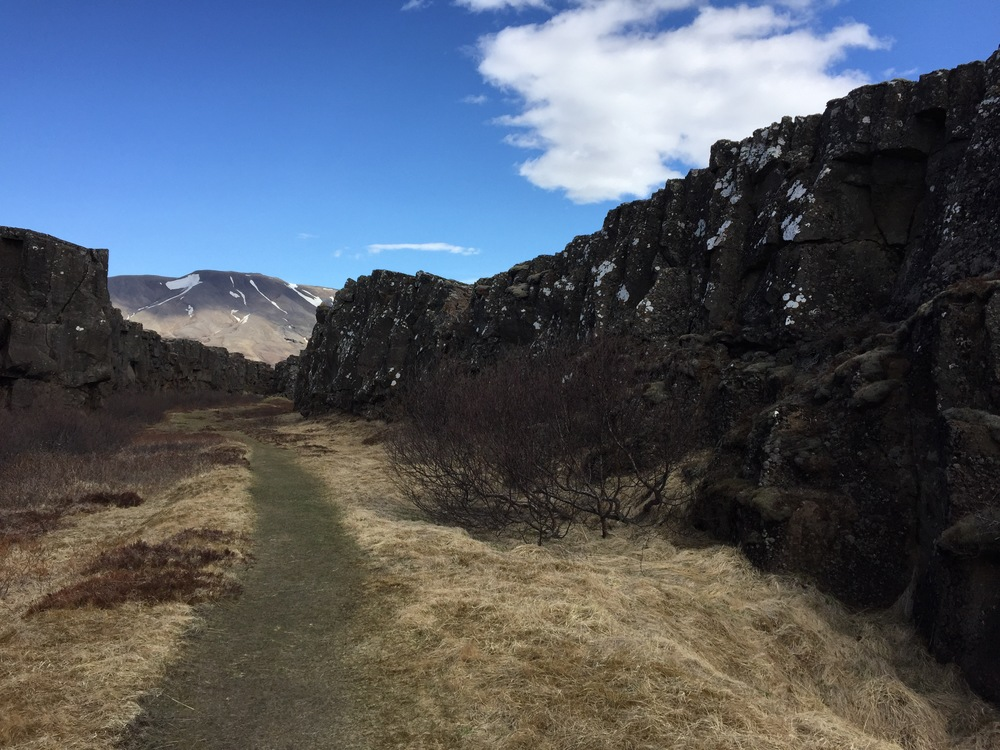 Mini canyons at Þingvellir National Park on the Golden Circle.