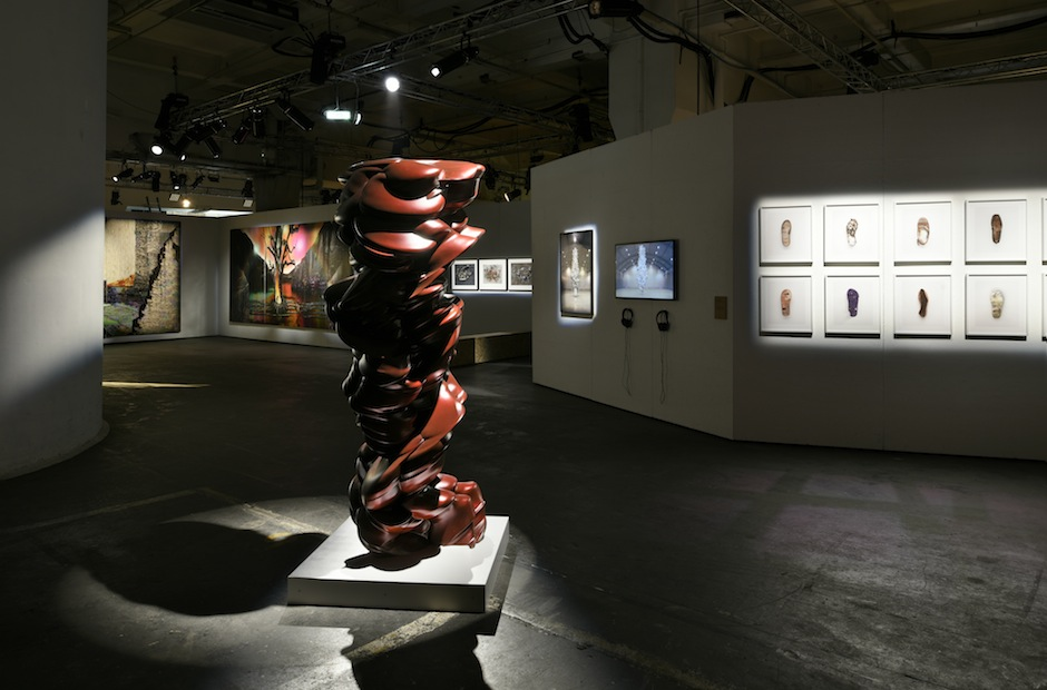 Installation shot from Here Today… Curated by Artwise 2014 © the artists. Photo by Thierry Bal. Pictured: Gordon Cheung, Tony Cragg, Chris Jordan, David Rickard, Mike Perry