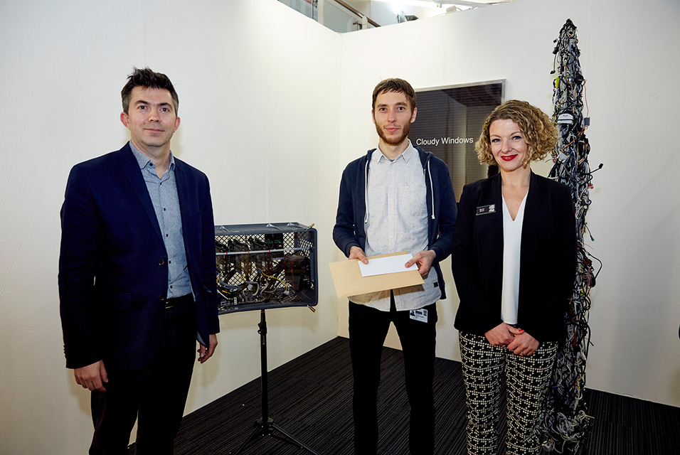 Winner of the De'Longhi Art Projects Artist Award, Joachim Coucke, with De'Longhi and Sarah Monk, Director of the London Art Fair 2016 © Mark Cocksedge