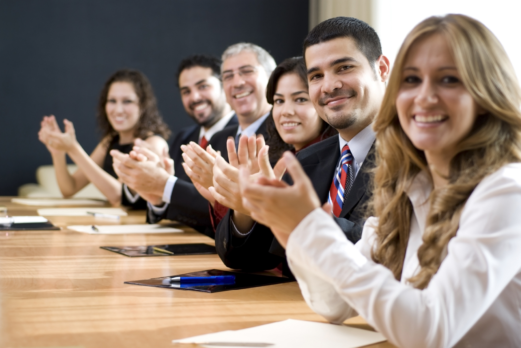 Meeting clapping success happy productive