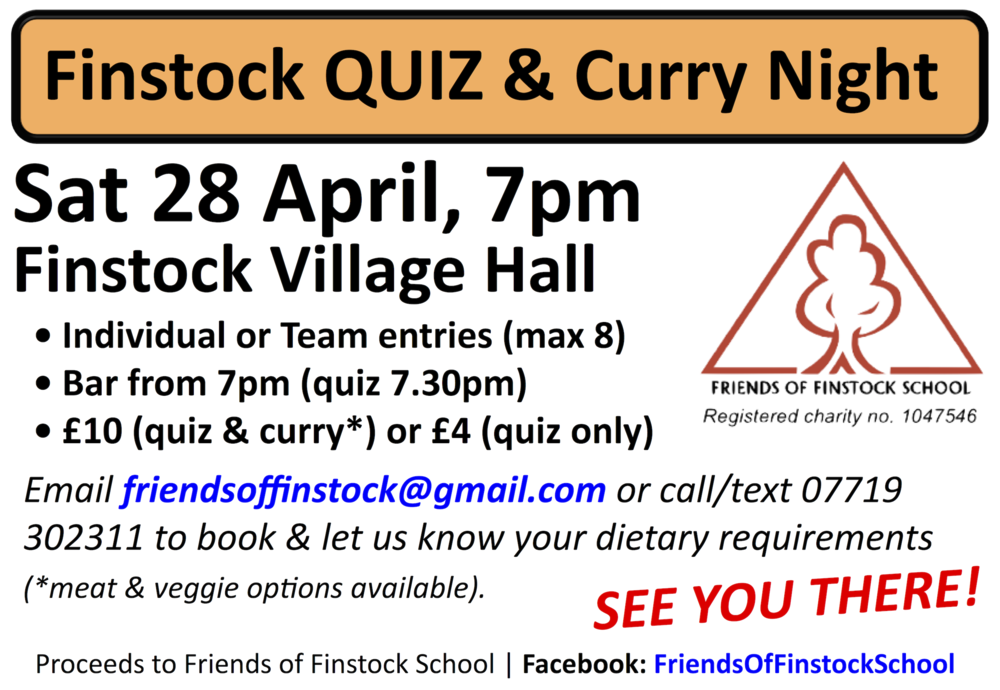 Finstock Village Quiz Night 28 April 2018