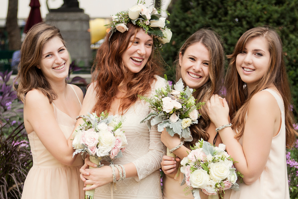 We love this wedding party story of soft blush & champagne photographed at the Bryant Park carousel (all in Dahl).