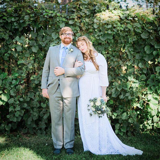 Beautiful bride Clair in her custom silk and lace #weddingdress #bride #dahlnyc #wedding 🌿