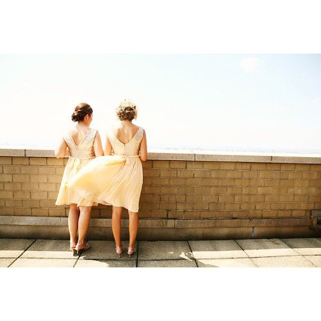 Our sparking Marilyn #bridesmaids dresses having a moment in the wind. #bridesmaid #bridesmaiddress #champagne #sequindress
