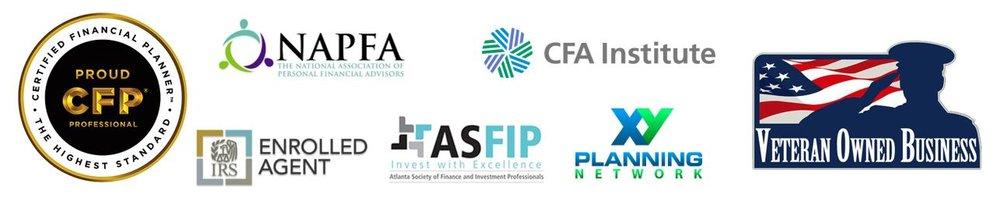 Website Logos - NAPFA CFA CFP EA VOSB ASFIP XYPN salute - Current.JPG