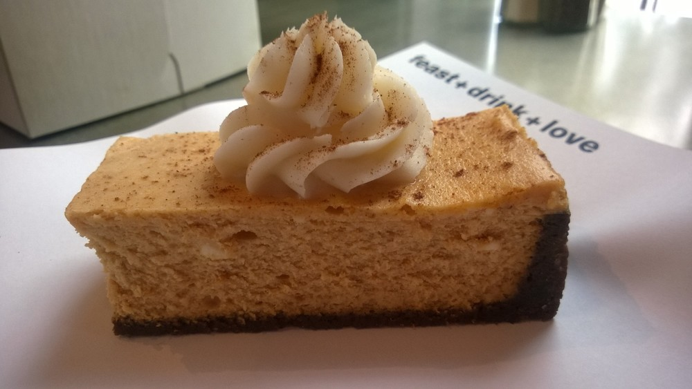Urban Eats Pumpkin Cheesecake.