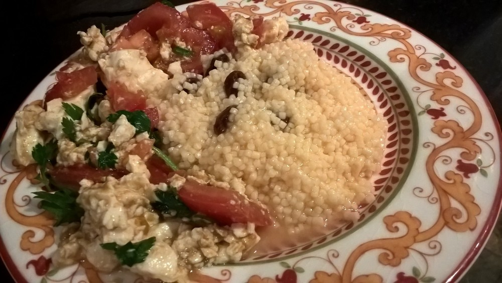 Tofu and Egg Scramble with Geffen Couscous