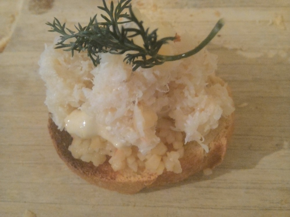 Step 3: Top with lump crab meat and dill.