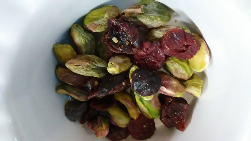 Mix-ins: Pistachios and dried berries.