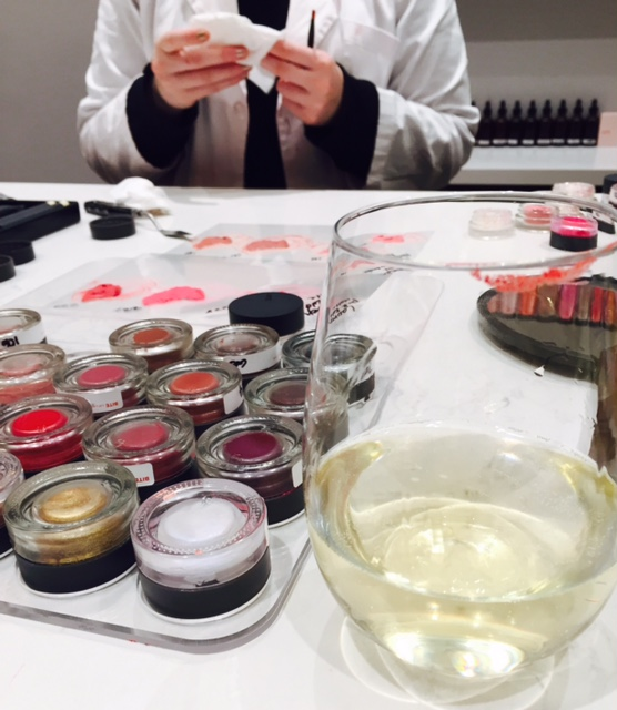 Bite lipstick pigments, Bite lipstick formulas and sparkling wine. Does it get any better?