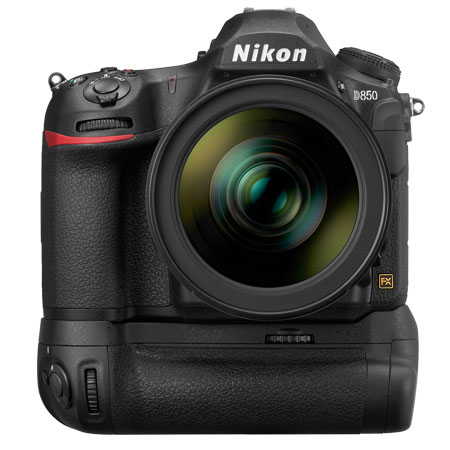Nikon D850 with optional vertical/battery grip.