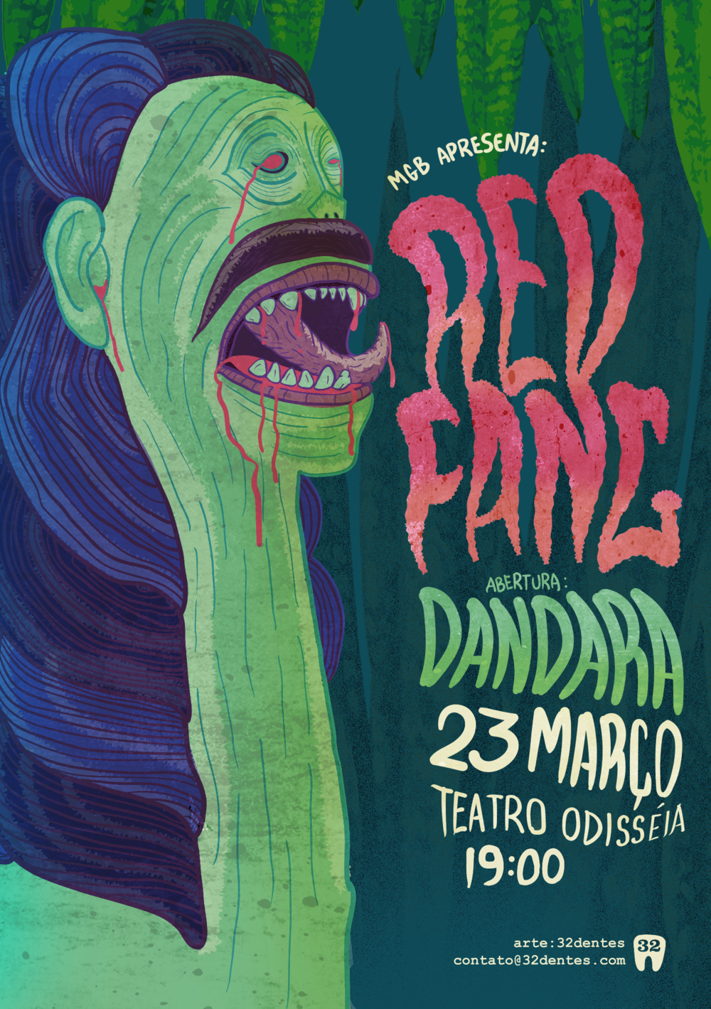 Poster art for the Red Fang concert in Brasil based on the carrancas. A true brazilian monster.