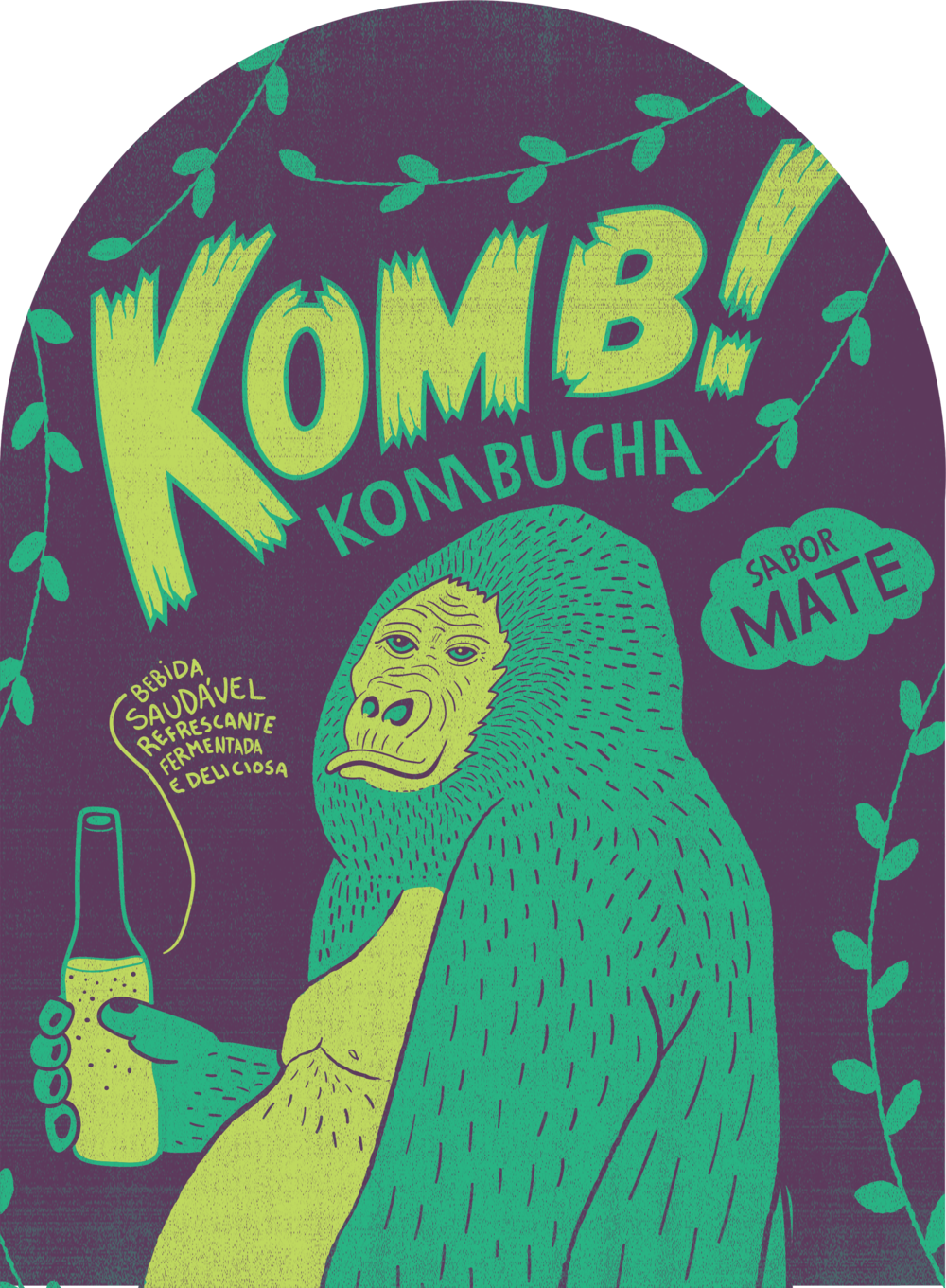 THE LABEL - Here's our peaceful gorilla tasting his favorite kombucha. The idea is to have him in different actions depending on the flavour. Cheers!