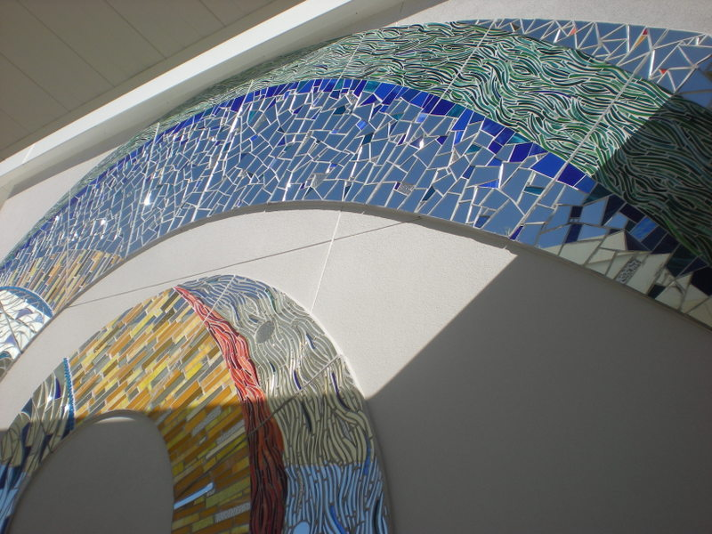 INSPIRING SPIRALS: Mari Gardner's Spiral Fantasia-A Child's Dream graces the facade of The Glazer Children's Museum.