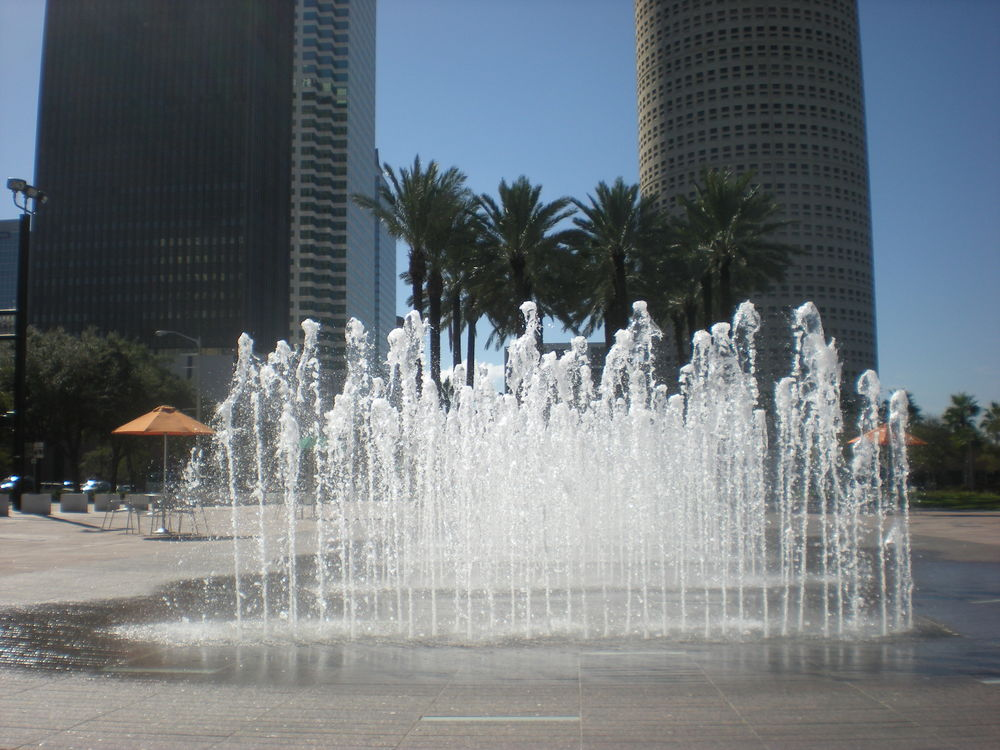 COOL COMFORT: Dancing fountains cool and delight.