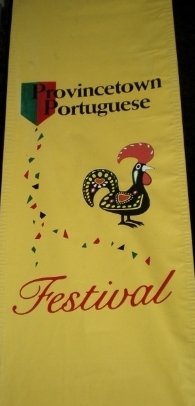A WELCOME SIGN This bright banner welcomes us to our first Portuguese Festa.